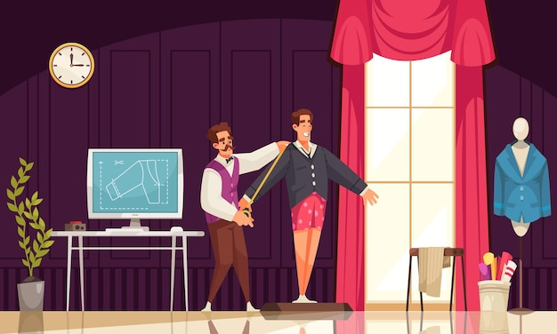 Male tailor taking measurements of smiling man for jacket in atelier cartoon illustration