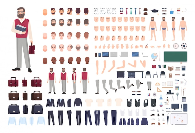 Male teacher constructor or diy kit. collection of teaching professor's body parts, hand gestures, clothing isolated on white background. front, side and back views. cartoon illustration.