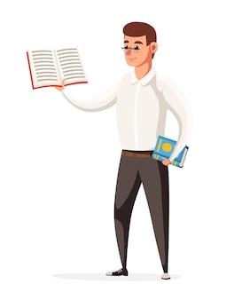 Учитель-мужчина держит учебник. учитель в очках. стиль персонажа. иллюстрация на белом фоне страницы веб-сайта и мобильного приложения