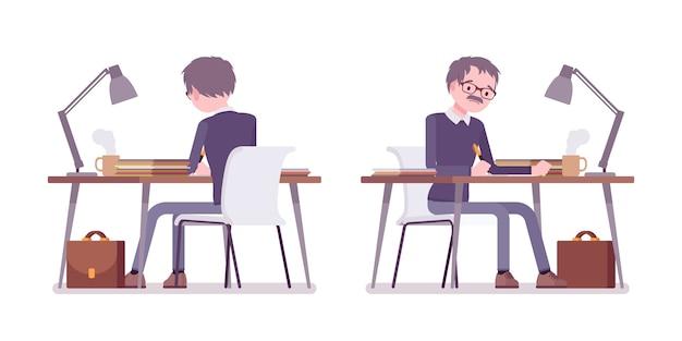机に座って働く男性教師