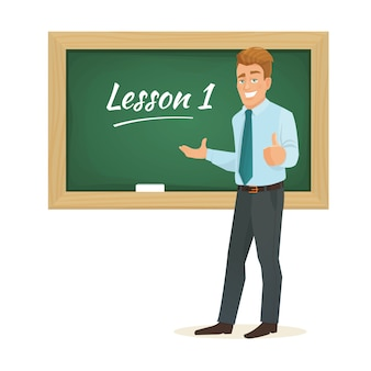 Учитель-мужчина стоит у доски