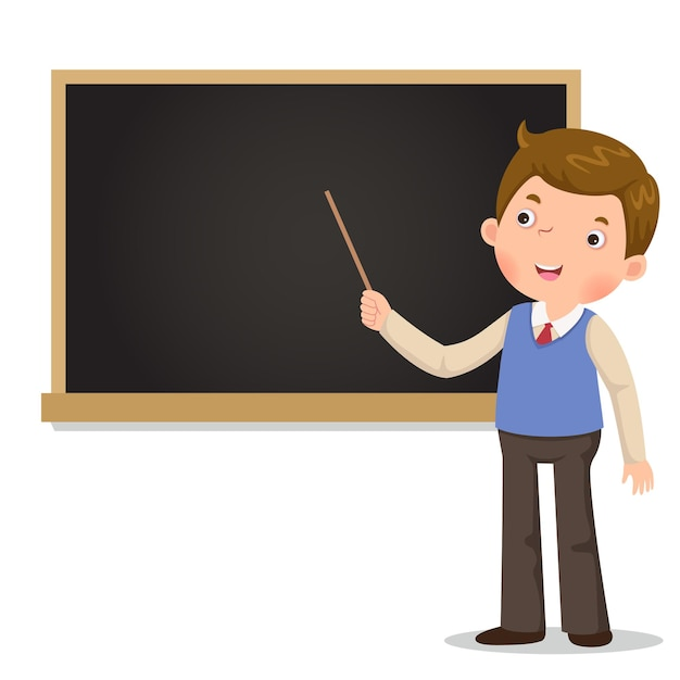 Male teacher standing in front of blackboard with a pointer