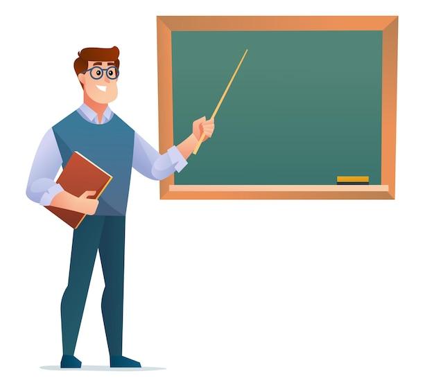 Учитель-мужчина, стоящий перед иллюстрацией доски