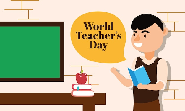 Male teacher worker character vector illustration design