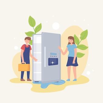 男性の技術者と冷蔵庫
