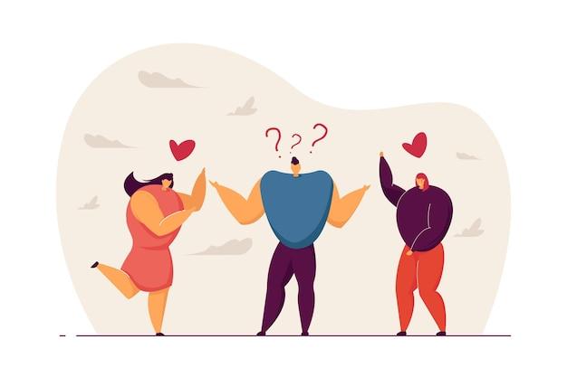 Подросток мужского пола, выбирающий между двумя любовниками. человек думает о двух возлюбленных и имеет тяжелый выбор плоских векторных иллюстраций. любовь, концепция дилеммы для баннера, веб-дизайна или целевой веб-страницы