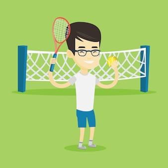 Male tennis player vector illustration.