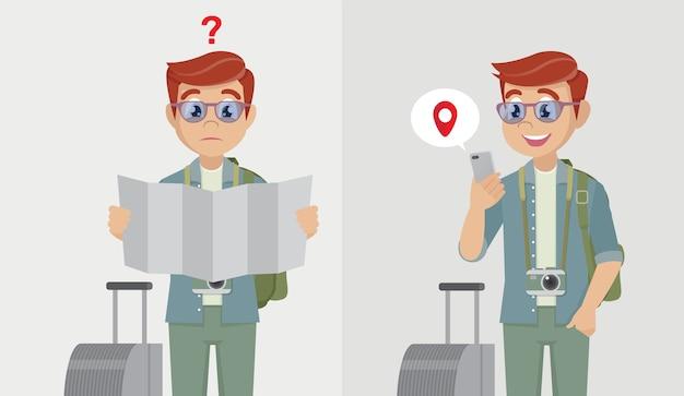 ロードマップを保持しているバックパックを持つ男性の観光客と市内地図上のモバイルgps検索ポイントを備えたモバイルスマートフォンを保持している男性