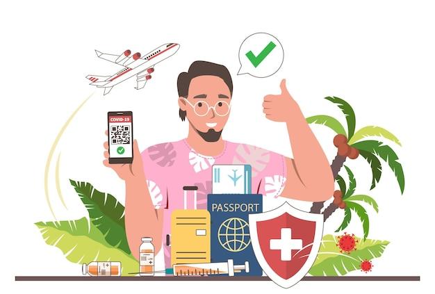 화면에 코로나바이러스 백신 여권이 있는 스마트폰을 들고 있는 남성 여행자, 평평한 벡터 삽화. qr 코드가 있는 면역 증명서, 예방 접종 확인 표시. 예방 접종 후 여행. 뉴 노멀.