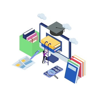 Male try to climb book in the computer with stair. e-learning concept for graduation with isometric illustration. computer technology with books, mobile phone, magazine, clouds.