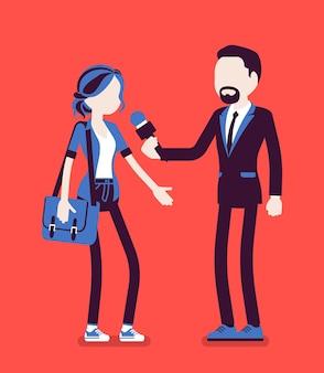 Репортер мужского пола дает интервью. мужчина держит интервью с женщиной, профессиональным журналистом в разговоре по радио, в газете, спрашивая мнение. векторная иллюстрация, безликие персонажи
