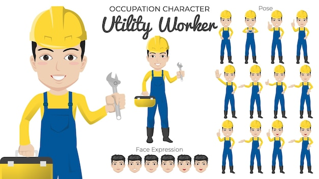 Male utility worker character set with variety of pose and face expression