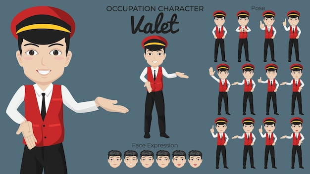 Male valet character set with variety of pose and face expression