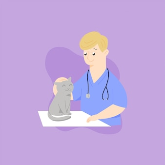 Male veterinarian checking a cat illustration