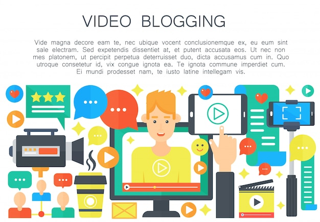 Male video blogger flat concept