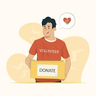 Мужской волонтер иллюстрации