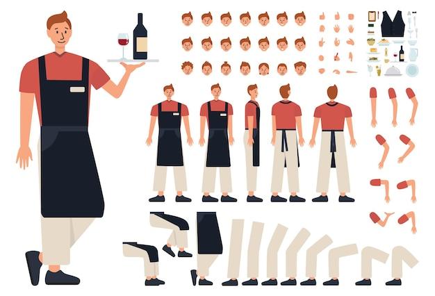 Набор конструкторов концепции мужской официант. персонал ресторана в униформе