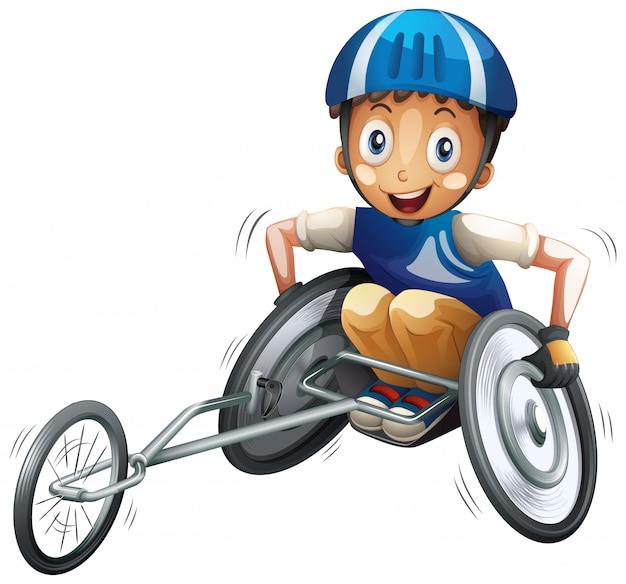 Personaggio maschile atleta su sedia a rotelle