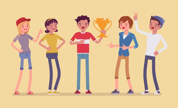 Male winner and supporting friends. boy celebrating victory, happy to win golden prize, first reward for competition in recognition of outstanding achievement.   style cartoon illustration