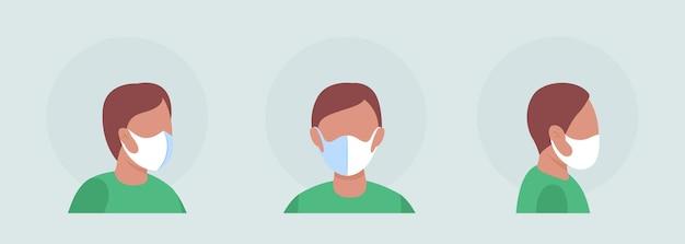センターシームマスクセミフラットカラーベクトル文字アバターセットの男性。正面からの呼吸器付きの肖像画、側面図。グラフィックデザインとアニメーションパックの分離されたモダンな漫画スタイルのイラスト