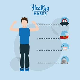 健康な習慣漫画の概念を持つ男性