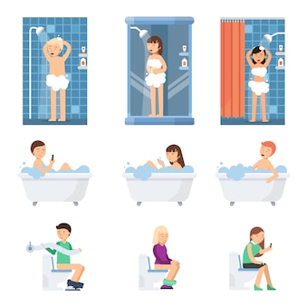 Male and women take a shower in bathroom. flat illustrations of flat peoples