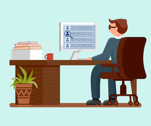 Male worker dat workplace flat vector illustration