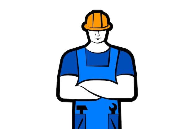 Мужской рабочий или строитель в рабочей одежде и строительном шлеме, рабочий вектор концепции