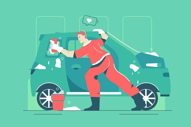 남성 노동자는 걸레 벡터 삽화로 차를 씻습니다. 도구 플랫 스타일의 캐릭터 광택 차량 외관. 자동차 서비스 스테이션, 운송 개념입니다. 녹색 배경에 고립