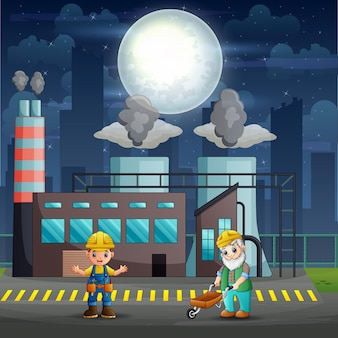 Male workers are working in factory at night