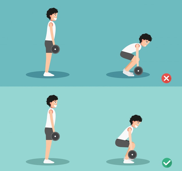 Male wrong and right deadlift posture