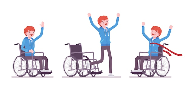 Male young wheelchair user in positive emotions