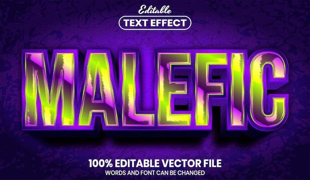 Malefic text, editable text effect