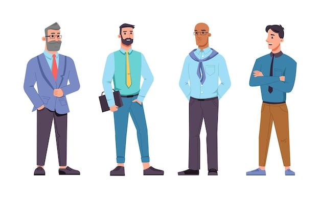 さまざまな年齢の男性ビジネスマン、眼鏡をかけたひげを生やした中年の上司