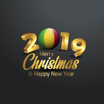 Mali flag 2019 merry christmas typography