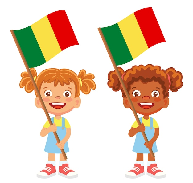 Флаг мали в руке. дети держат флаг. национальный флаг мали вектор