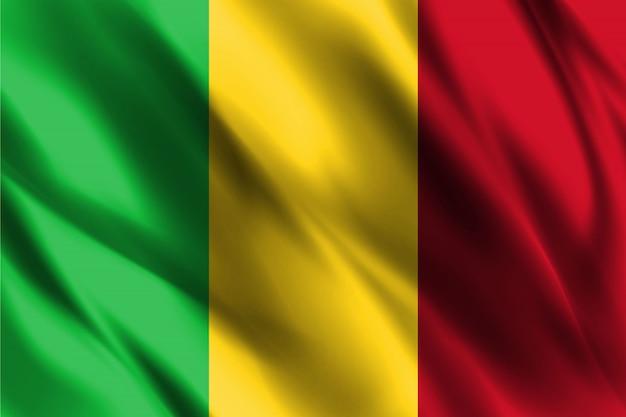Мали флаг развевается шелковый фон шаблона