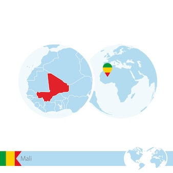 Mali on world globe with flag and regional map of mali. vector illustration.