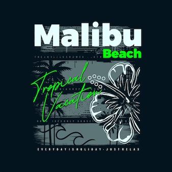 Malibu beac typography graphic vector premium vector