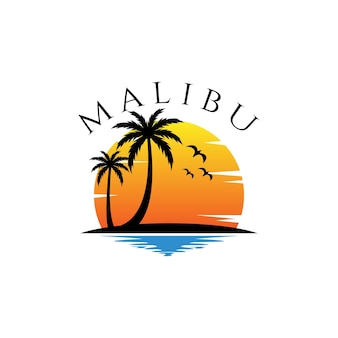 Дизайн векторных логотипов темы пляжа малибу