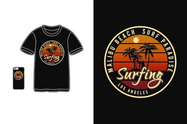 Tシャツ商品とモバイルでのマリブビーチのタイポグラフィ