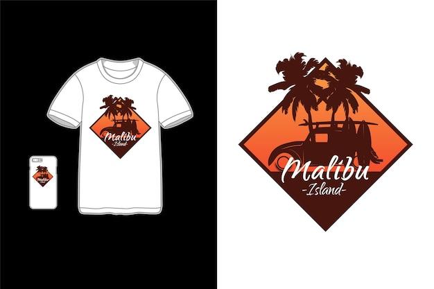 Tシャツデザインシルエットのマリブ島