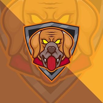 マリノア犬ヘッドeスポーツマスコットロゴeスポーツゲームとスポーツプレミアム無料ベクター
