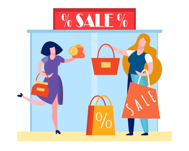 Mall black friday event flat illustration