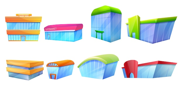 Mall icons set, cartoon style