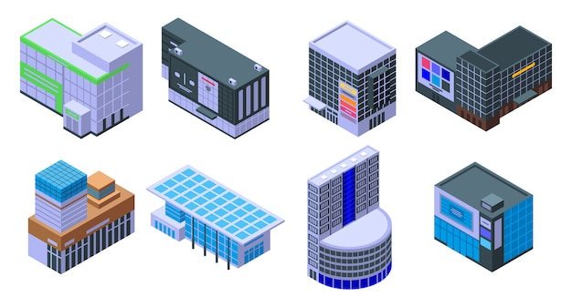 Mall icons set, isometric style