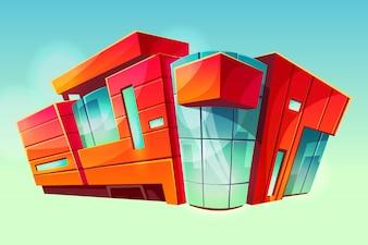 Mall or supermarket shop building illustration. Modern trade center facade