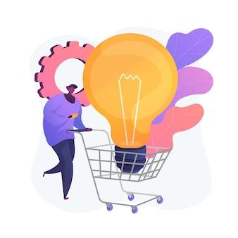 쇼핑몰 쇼핑. 소비, 소매, 상업. 상점 장바구니에 전구를 가진 남성 평면 문자입니다. 구매 아이디어 구매. 쇼핑객과 구매자의 매력.