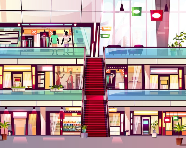 Mall shops with escalator staircase illustration. modern multistory floor trade center