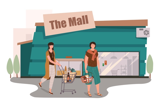 Mall store building web concept. customers shopping in supermarket, buying food, walking with carts and baskets near store